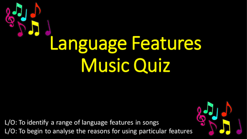 GCSE English - Language Features in Pop Music Quiz with Worksheet