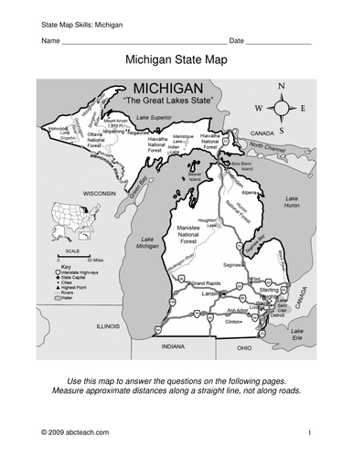 Michigan Map Of State.State Of Michigan Map Worksheet By Abcteach Teaching Resources Tes