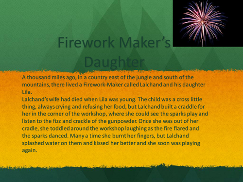 Firework Maker's  Daughter lessons based on chapter 1