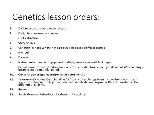 Year 9 Genetics full set of 12 lessons