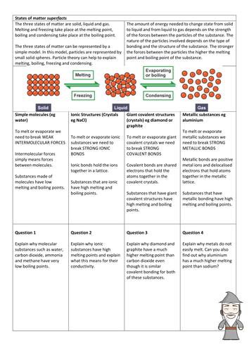 AQA GCSE unit 2 chemistry worksheet - states of matter superfacts