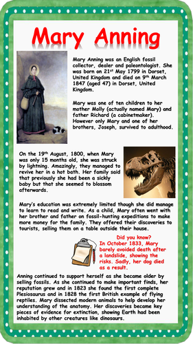 Mary Anning Reading Comprehension