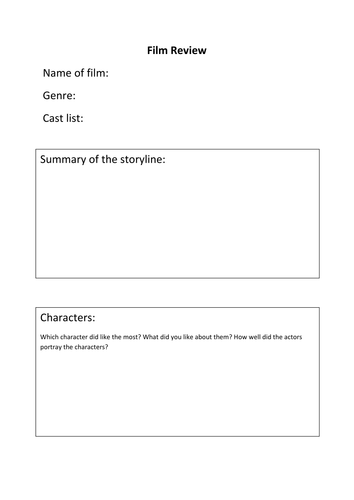 Layout worksheet for film review