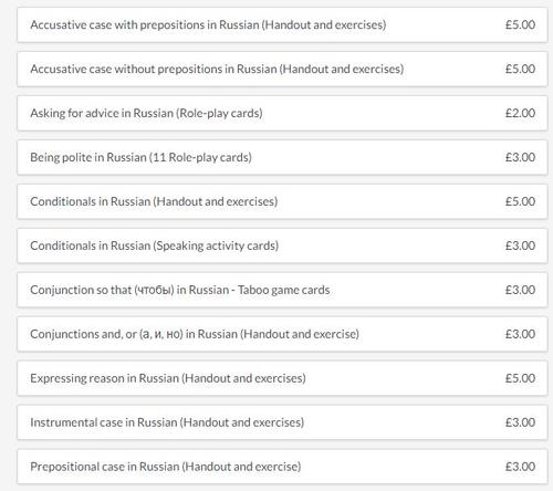 Various Russian Grammar Teaching Resources