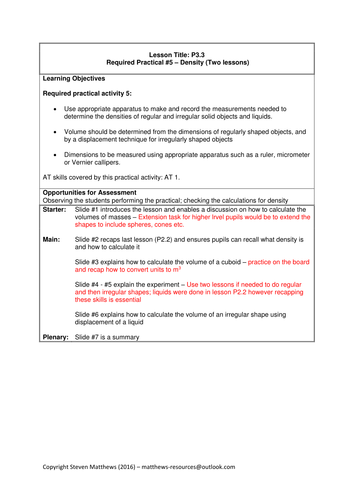 GCSE Science / Physics - Required practical - Density (PowerPoint and Lesson Plan)