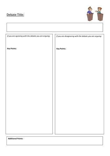 Debate Planning Sheet By Erchilds Teaching Resources