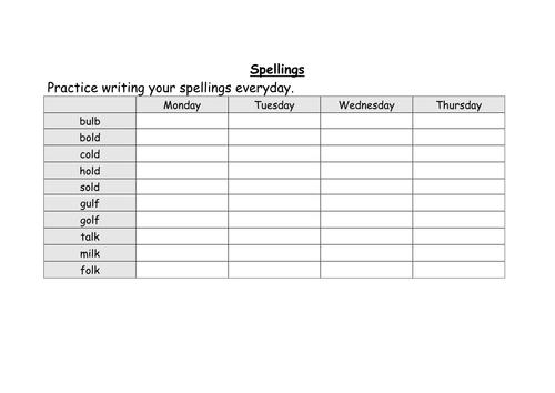 weekly spellings for year 2