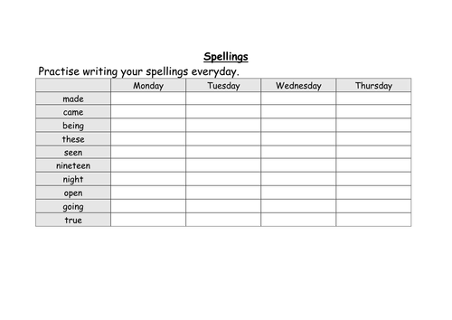 weekly spelling for year 3