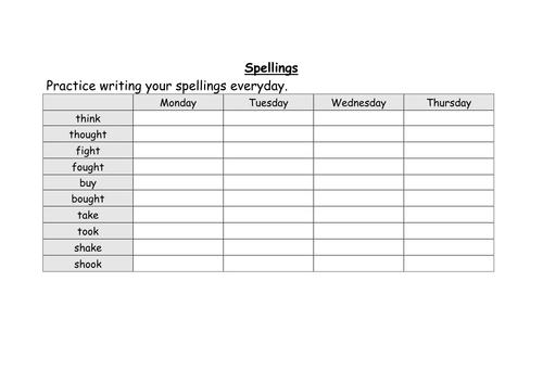 weekly spellings for year 4