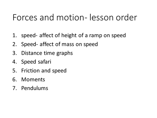 Year 9 Forces and Motion full sequence of lessons