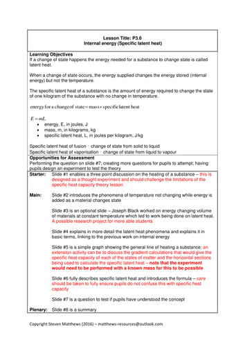 GCSE Science / Physics - Specific Latent Heat (PowerPoint and Lesson Plan)