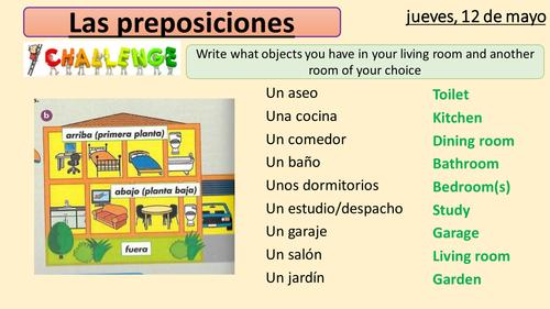 Las preposiciones y las habitaciones