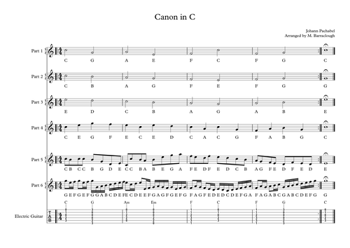 Canon in C for extra-curricular or classroom ensemble.