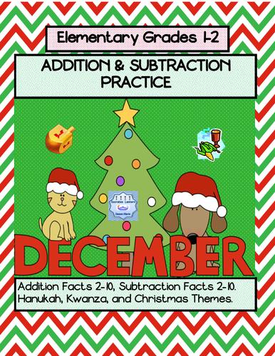 December: Addition & Subtraction Practice (Grades 1-2)