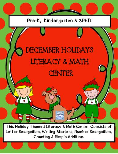 December Holidays: Literacy & Math Center (Pre-K & Kindergarten