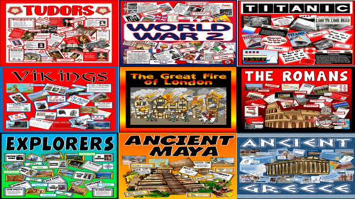 *HISTORY BUNDLE* KEY STAGE 2 - 9 PACKS! ANCIENT MAY, GREEKS, ROMANS, WIKINGS, WORLD WAR 2, TITANIC, KINGS AND QUEENS, EXPLORERS, GREAT FIRE OF LONDON