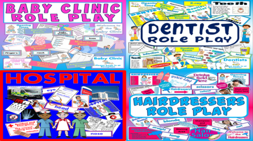 *ROLE PLAY BUNDLE* HOSPITAL, BABY CLINIC, DENTIST, HAIRDRESSERS,  - OURSELVES, ALL ABOUT ME, SCIENCE, BODY, FAMILY  - EARLY YEARS, KEY STAGE 1-2