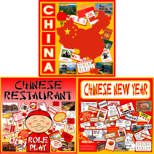 *CHINESE / CHINA BUNDLE* CHINESE NEW YEAR, CINA CULTURE, DISPLAY, INFORMATION, CHINESE RESTAURANT ROLE PLAY - KEY STAGE 1-3
