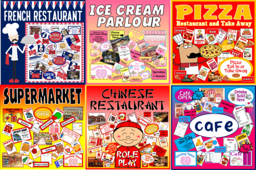 *FOOD ROLE PLAY BUNDLE* 6 PACKS - FRENCH CHINESE RESTAURANTS, ICE CREAM PARLOUR, PIZZA, SUPERMARKET, CAFE - FOOD, MONEY, CULTURE, HEALTHY EATING, SCIENCE, OURSELVES, EARLY YEARS, KEY STAGE 1, EXPRESSIVE PLAY