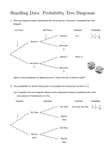 Worksheets Probability Tree Diagram Worksheet probability tree diagrams by sjcooper teaching resources tes