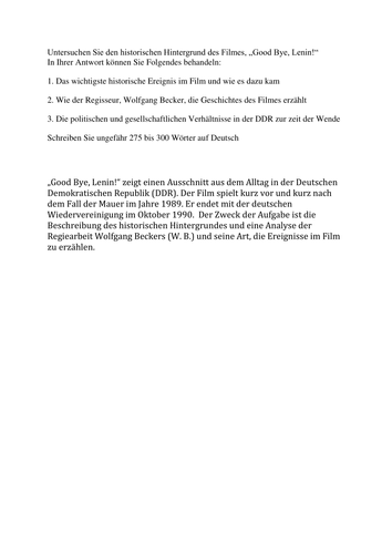 WJEC GN4 \'Good bye, Lenin!\' Essay Example by lernpartner - Teaching ...