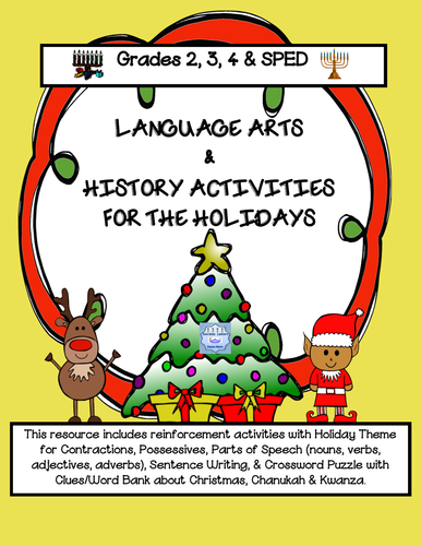 December Holiday Language Arts & History Activities ( Grades 2-4 & SPED)