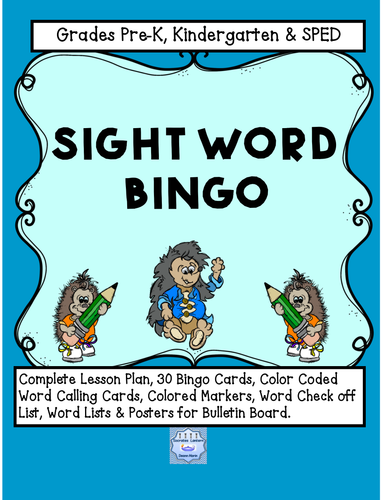 Pre K-Kindergarten Sight Word Bingo (Complete Lesson Plan Included)