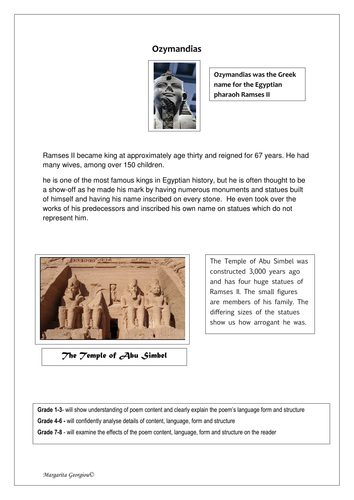 poem analysis worksheet ozymandias by p shelley by magz poem analysis worksheet ozymandias by p shelley by magz2978 teaching resources tes