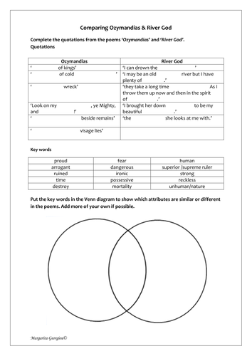 Poetry comparison worksheet ozymandias river god by magz2978 poetry comparison worksheet ozymandias river god by magz2978 teaching resources tes ccuart Image collections
