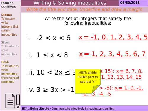 Writing inequalities from worded problems   Teaching Resources