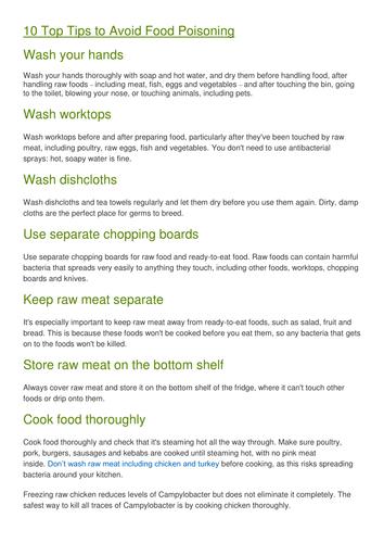 Food Poisoning HW Poster