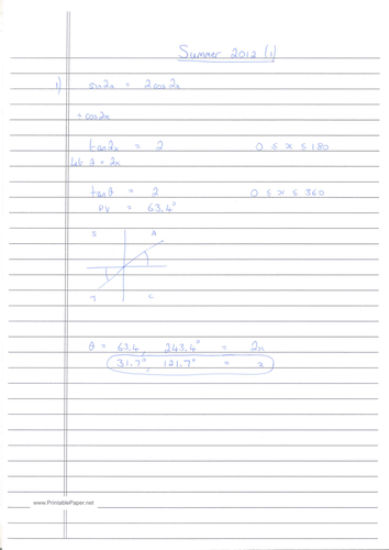 CIE A-Level Maths Pure 1 (P1) Worked Solutions - May/June 2012 (1)