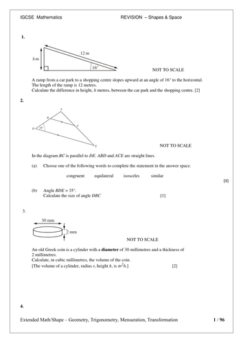 IGCSE - Revision pack - Shape and Space