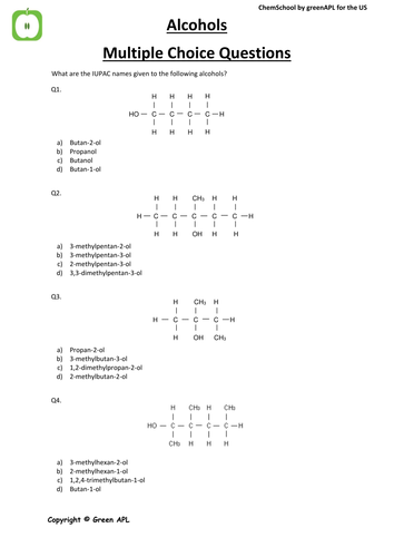 Assessment: Alcohol Multiple Choice Chemistry Questions