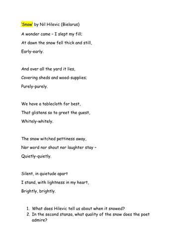 ks3 poetry snow poems by dessertislands teaching resources. Black Bedroom Furniture Sets. Home Design Ideas