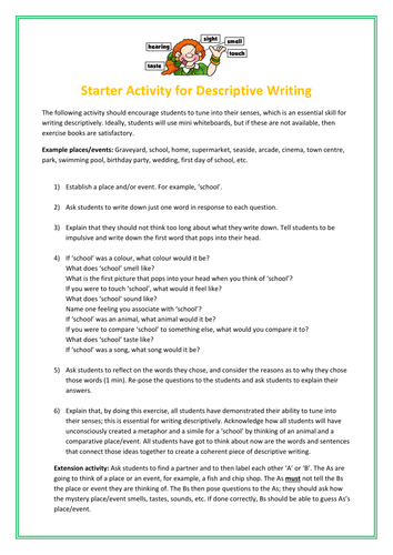 Ks Descriptive Writing  Writing To Describe Lesson  Creative Fun  Ks Descriptive Writing  Writing To Describe Lesson  Creative Fun  Exercise By Debzy  Teaching Resources  Tes Sample Essays For High School also Learn English Essay Writing  Example Of Thesis Statement For Argumentative Essay