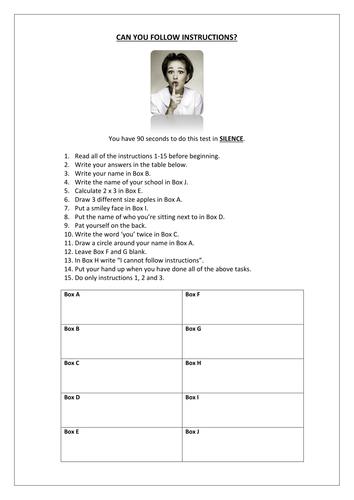 KS3 English or Tutor Time Activity - Following Instructions - Fun Starter Test