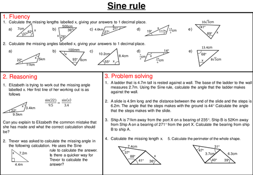 Gcse Sine And Cosine Rule Worksheet By Curingd Teaching Resources
