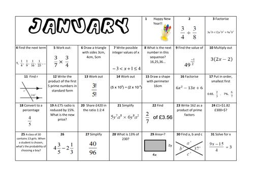 Calendar Year Question : Question a day calendar maths full year ks by