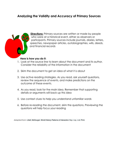 Analyzing Primary Sources Worksheet : History teacher by day and night shop teaching