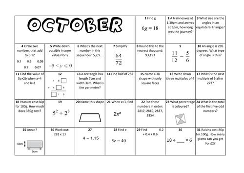 Calendar Worksheet Ks : Question a day calendar maths october ks by