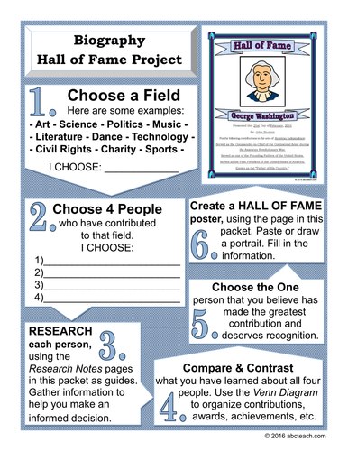 Social Studies: Biography - Hall of Fame Project