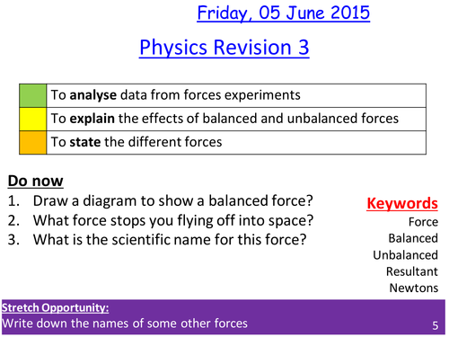 Forces lesson / revision lesson