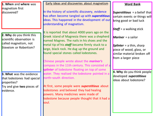 History of Magnets comprehension and quiz