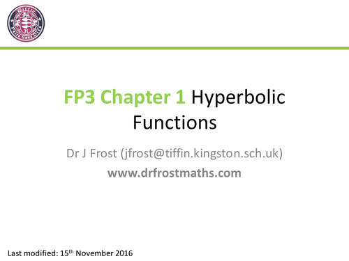 FP3 - Chapter 1 - Hyperbolic Functions