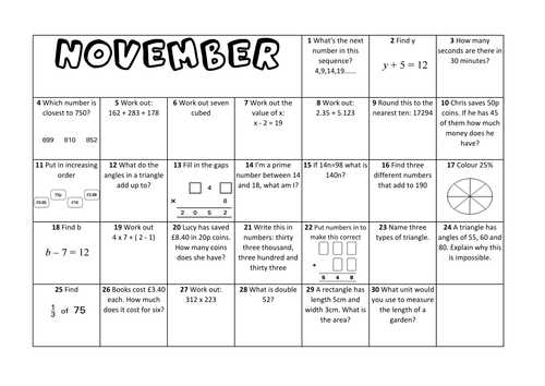 Question a Day Calendar (Maths) - November KS2