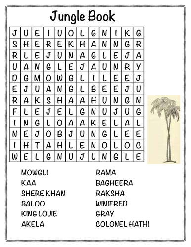 jungle book wordsearch by rpwhite teaching resources tes. Black Bedroom Furniture Sets. Home Design Ideas