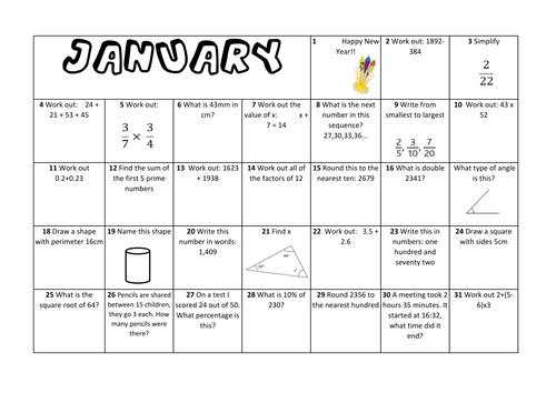 Question a Day Calendar (Maths) - Full Year KS2