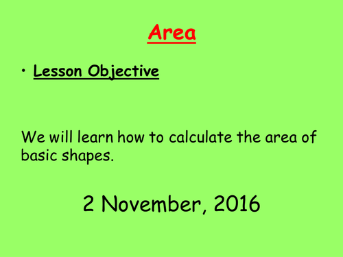Area of rectangle, triangle, and compound shapes.