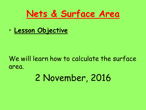 Nets and surface area lesson